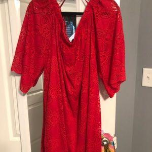 Red Lace cold shoulder dress